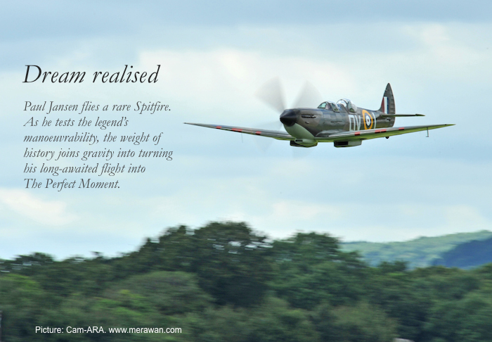 Paul Jansen flies a Spitfire plane