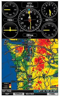Split display on the Garmin GPSMAP 695