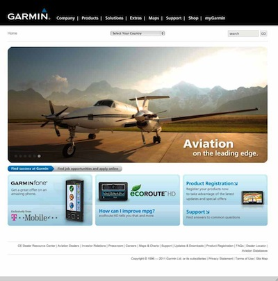 Garmin's website shows its wide range of products for pilots and others.