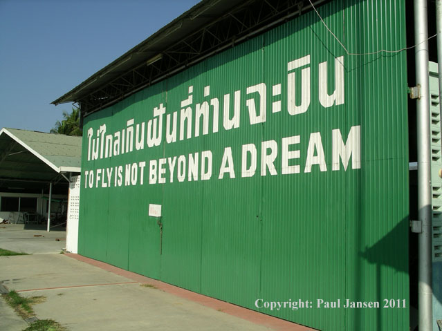 Hangar door at the Chonburi Flying Club in Thailand