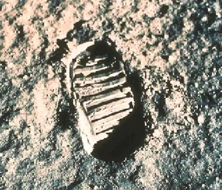 "Astronaut Neil Armstrong did more than place mankind's first step on the moon: he summarised millenia of yearning when he said: ""One small step for a man, one giant leap for mankind."" - NASA picture"