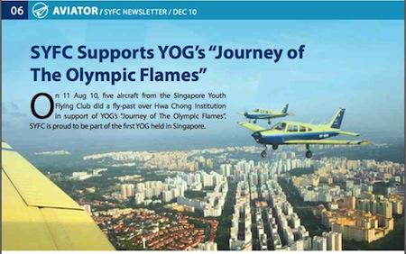 Singapore Youth Flying Club Pipers make history, reports its Dec 2010 newsletter. Copyright: Singapore Youth Flying Club.