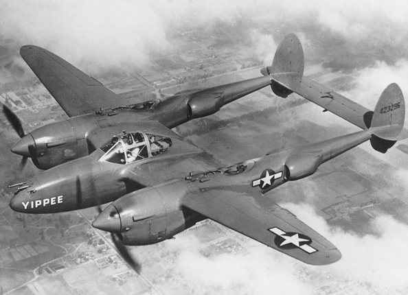 USAF Lockheed P38 Lightning fighter like the one flown by Antoine de Saint Exupery in WWII.