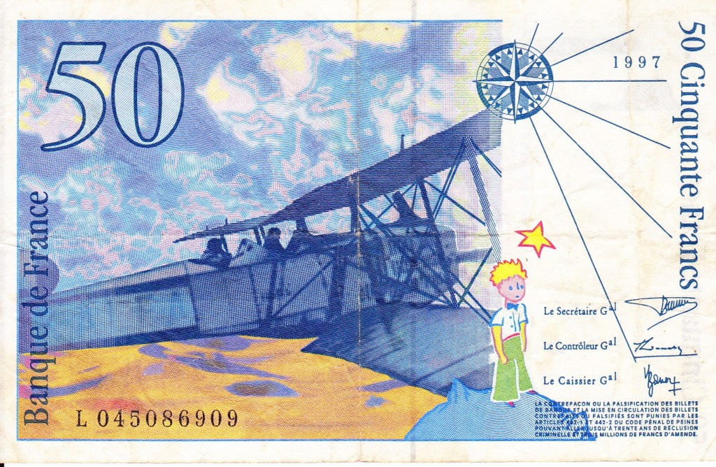 Reverse of 50 franc note honouring pilot-author Antoince de Saint Exupery.