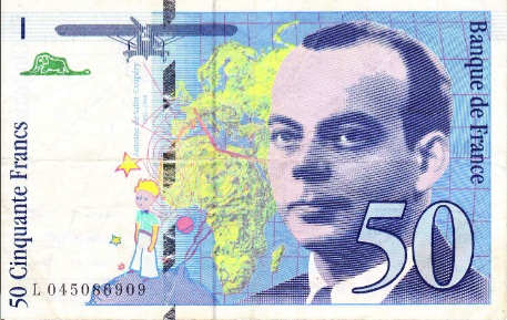 In 1993, France released a 50 franc note featuring pilot-author Antoine de Saint Exupery