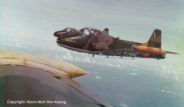 Republic of Singapore Air Force BAC 167 Strikemasters in formation in 1976. Picture courtesy of Kevin Muk Hon Keong.