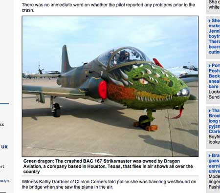 Daily Mail report on the crash of the Green Dragon, a Strikemaster used by a Houston, Texas-based company for air shows.