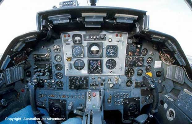 The BAC 167 Strikemaster's control panel has been partially updated for its new role as civilian show plane.