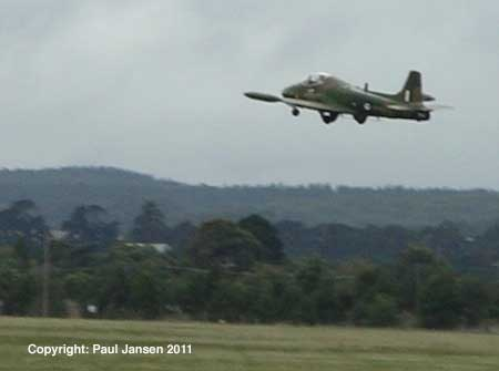 The BAC 167's Rolls Royce Viper engine lifts the Strikemaster after 300 metres.