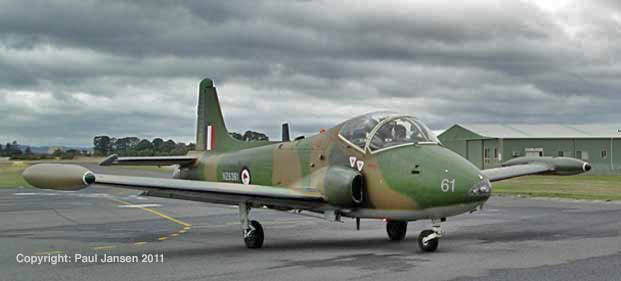 A de-militarised BAC 167 Strikemaster returns to base in Victoria, Australia after a sortie with Paul Jansen.