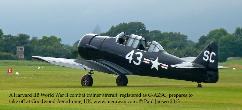 Harvard combat trainer aircraft registered as G-AZSC