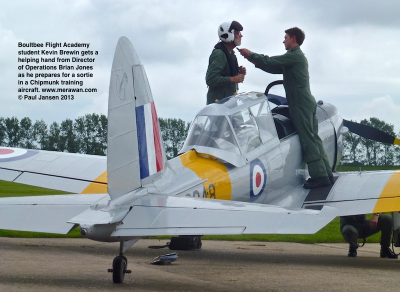Kevin Brewin gets set for a formation flight. He and instructor David Ratcliffe will fly their Chipmunk in synchronisation with a Tiger Moth piloted by student Paul Jansen and instructor Sam Whatmough.