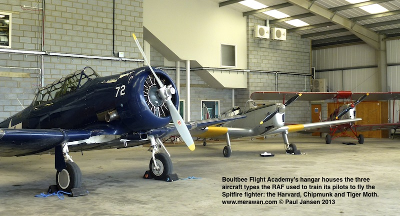 A Harvard, Chipmunk and Tiger Moth aircraft are the lead-ins to flights on the World War II Spitfire at the Boultbee Flight Academy.