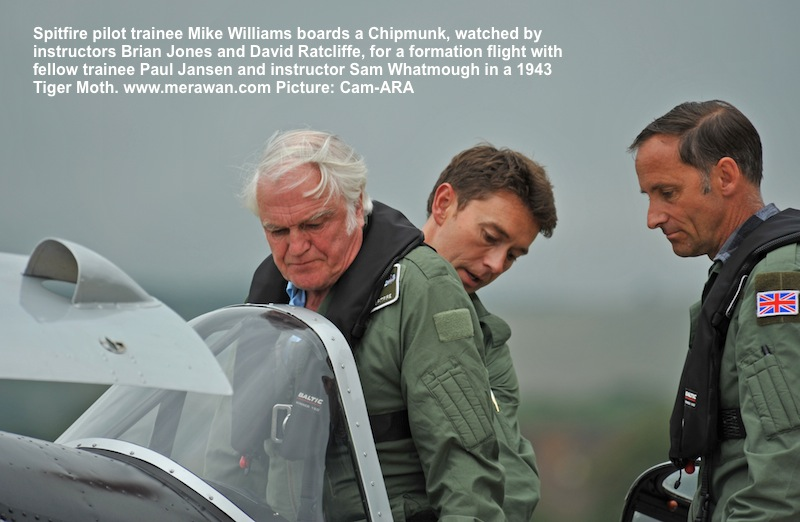 Mike Williams, a pilot doing the introductory course to the Spitfire prepares for his Chipmunk flight.