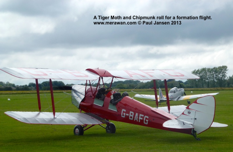 The first phase of the Spitfire training course at the Boultbee Flight Academy has students flying formation in the Tiger Moth or Chipmunk basic trainers.