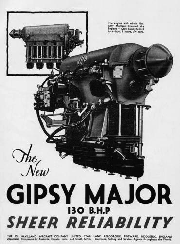 War-era poster of the engine which powered the de Havilland Tiger Moth and Chipmunk basic training aircraft.