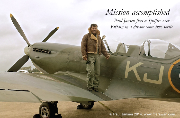 Paul Jansen on the Boultbee Spitfire fighter plane