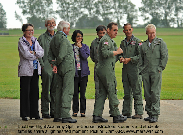 Spitfire Course instructors, students and their families at Goodwood Aerodrome