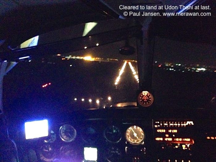 9M-PRJ is cleared to land at night in Udon Thani airport.