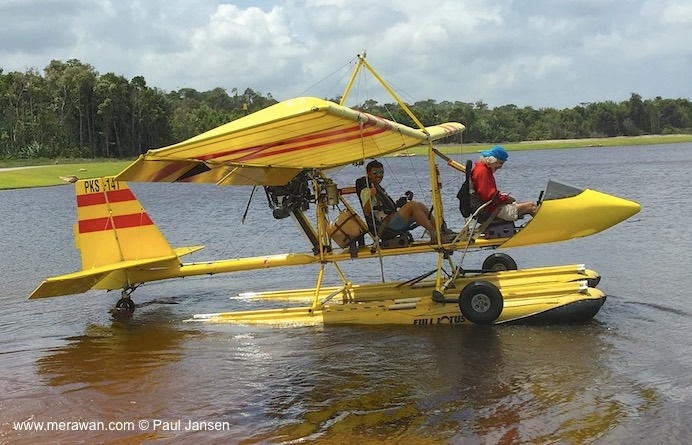Paul Jansen is ready for his ride in the Drifter seaplane in Bintan, Indonesia